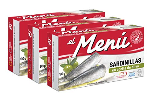El Menu Mediterranean Canned Baby Sardine Fillets with Omega-3 in Olive Oil – 3.17 Ounces or 90 Grams (Pack of 3)
