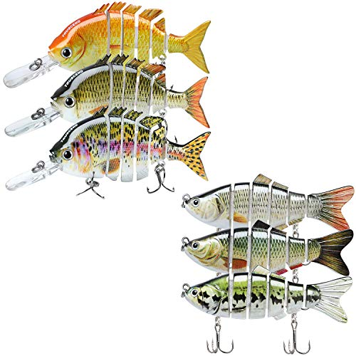 TRUSCEND Fishing Lures for Bass Trout Multi Jointed Swimbaits 3.9' Slow Sinking & 3.93' Topwater Swimming Lures Bass Freshwater Saltwater Bass Fishing Lures Kit Lifelike