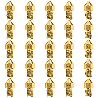 25pcs 0.4mm MK8 Nozzles 3D Printer Extruder Accessories for Creality Ender 3 5 CR-10 10S S4 S5 and so on (25 pcs)