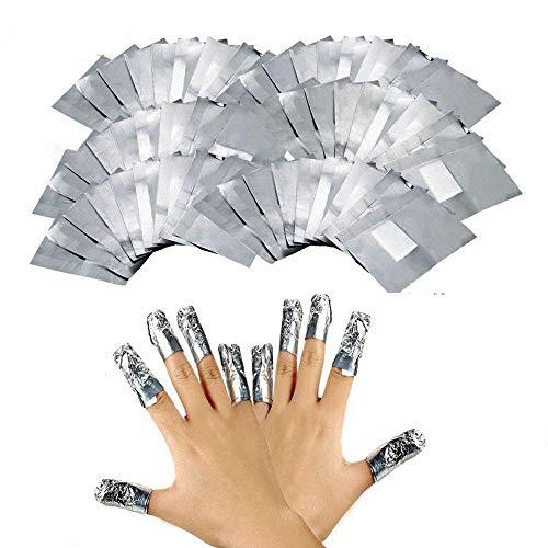 200 Pcs Quitaesmalte de Papel de Aluminio,Herramienta de Limpieza para Remover el Gel de Uñas Acrílico Nail,Removedor de Uñas de Gel