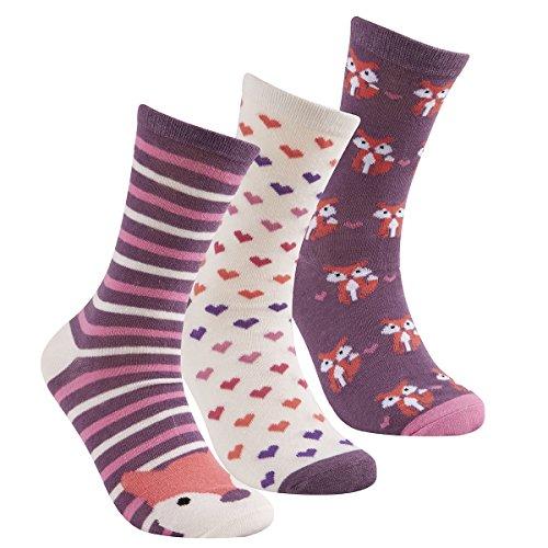 Cottonique Damen-Socken aus Baumwolle, Tierdesign, Größe 37–42 Gr. 37-42, 3 Pack Purple Fox