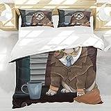 BEDNRY Juego de Ropa de Cama,Bulldog Inglés Perro Detective Inglés Tradicional con una Pipa y Sombrero Sherlock Holmes Imagen,1 Funda Nórdica 200x200cm y 2 Funda de Almohada