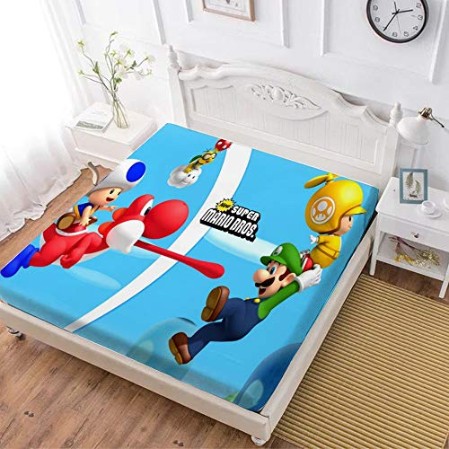 Fitted Sheet,Mario Luigi Yoshi (1),Soft Wrinkle Resistant Microfiber Bedding Set,with All-Round Elastic Deep Pocket, Bed Cover for Kids & Adults,queen (70x80 inch)