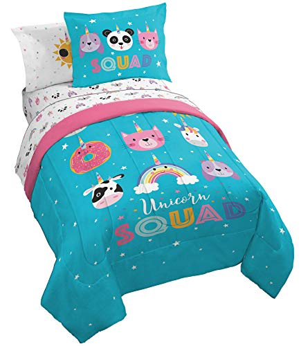 Jay Franco Trend Collector Unicorn Squad 5 Piece Twin Bed Set - Includes Comforter & Sheet Set - Super Soft Fade Resistant Microfiber Bedding