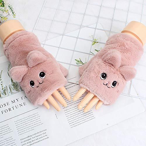 Women Winter Gloves,Lindo Gato Guantes De Medio Dedo De Felpa Rosa Guantes...