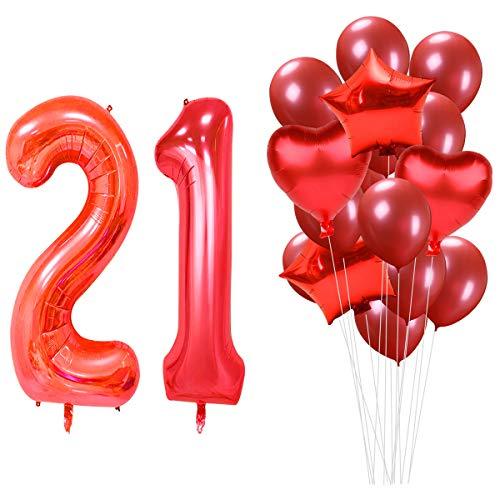 MAGJUCHE 40 Pulgadas Rojo 21 cumpleaños Helio Jumbo Digital Número 21 Globos Kit, Rojo Globos de látex Suministros de decoración de Fiesta de cumpleaños