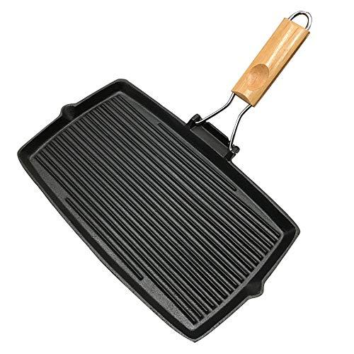 LMJ Outsider Verdikte gietijzeren koekenpan, rechthoekig gestreepte steakpot, ongecoat, antiaanbakbarbecue pot, wilde pot