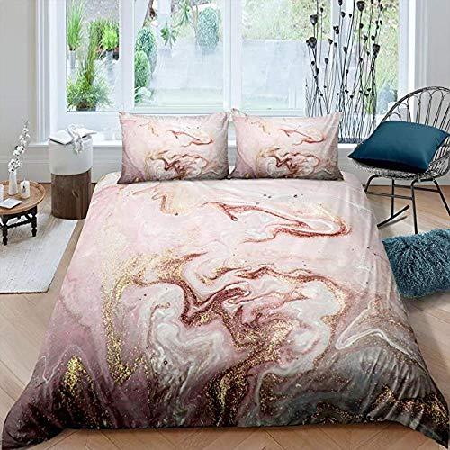 Funda nórdica de mármol colorida para niñas, juego de cama de oro rosa pastel, diseño para mujer, edredón de 3 piezas, colchas femeninas brillantes, patrón de niños, decoración de impresión, cama