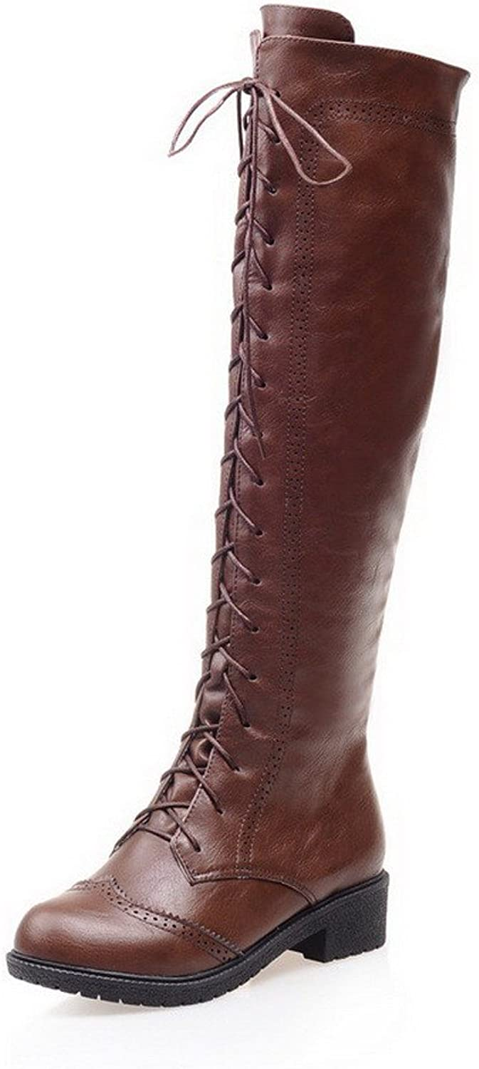 WeiPoot Women's Round Closed Toe PU Zipper Low-Heels Knee-high Boots