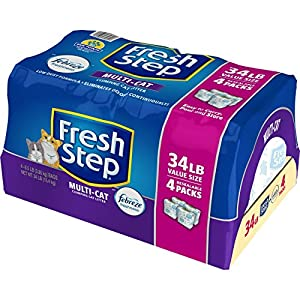 Fresh Step Multi-Cat with Febreze Freshness, Clumping Cat Litter, Scented, 34 Pounds, Resealable 4 Packs