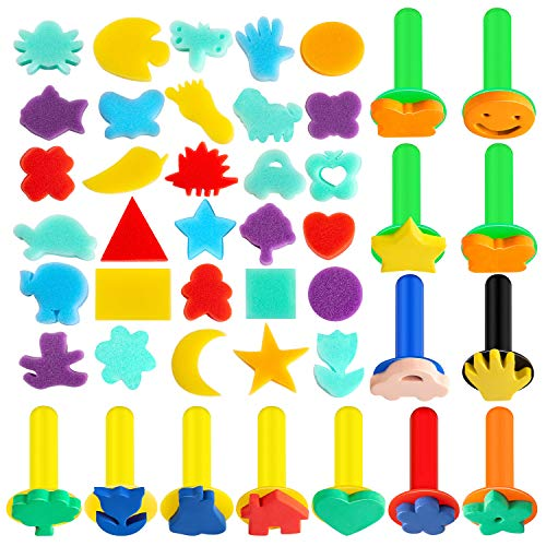 42Pcs Sponge Painting Shapes EVA Sponge Painting Stamper, Painting Craft Sponge for Toddlers Assorted Pattern Early Learning Sponge for Kids