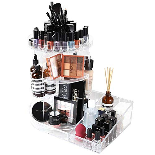 SUNFICON Rotating Cosmetic Holder Large Makeup Organizer Makeup Storage Tray 360 Spin Makeup Carousel Display Case Stand Caddy Vanity Bathroom Bedroom Countertop Birthday Christmas Gift Acrylic Clear