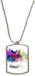 Houston America City Watercolor Stainless Steel Chain Dog Tag Pendant Pet Necklace