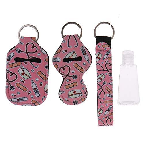 BELTI Kit de Portador de Llavero de muñeca de lápiz Labial de Botella Reutilizable de Viaje de Enfermera de 4 Piezas