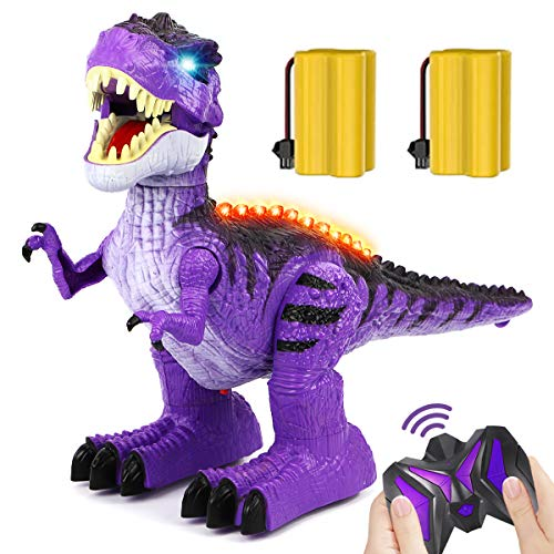 GILOBABAY Remote Control Dinosaur 2.4Ghz RC Toys, Electronic Walking Tyrannosaurus Rex Dinosaur with Lights and Sounds, 2 Rechargeable Batteries, 360 Degree Dancing, Toy for Kids Boys Girls
