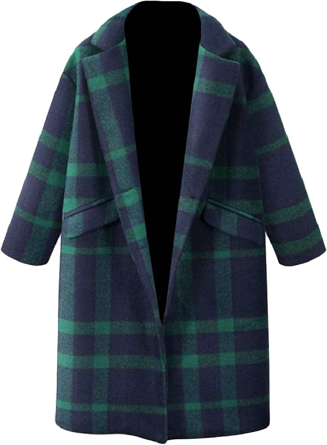 Coolhere Women's Thicken Plaid Pattern Turn Down Collar WoolBlend Overcoat Trench Coat