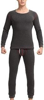 Good Mens Winter Warm Thermal Underwear Set Long Comfortable Sizes Sleeve Shirt Long Johns Nightwear Pajama Set Fleece Lin...