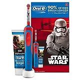 Oral B Star Wars–Spazzola elettrica, ricaricabile e pasta di denti Oral B, colore: blu/rosso