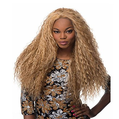 Gzhuang Hot vendre synthétique Blond Long Kinky Wave des Perruques
