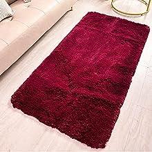 HETOOSHI alfombras mullidas de Interior súper Suaves y mullidas de Terciopelo Linda Alfombra de Dormitorio mullidaAdecuado para salón Dormitorio baño sofá Silla cojín(Rojo,120 x 160 cm)