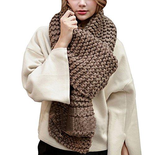 Hownew-X Damen Strickschal Lang XXL Warme Grobstrick Schal Oversize Winterschal, 190 x 32cm (One Size, Kaffeebraun)