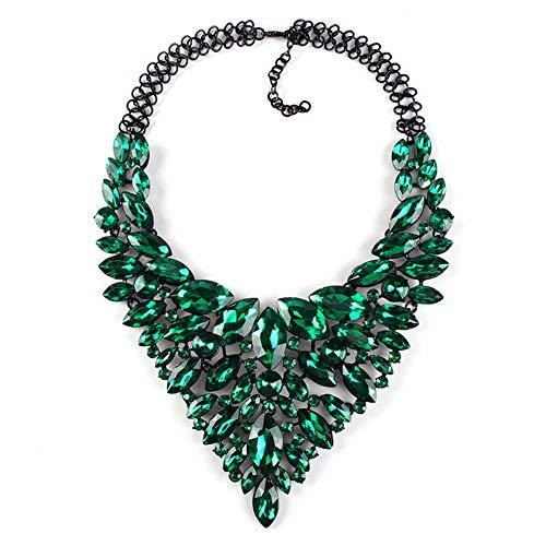 Yazilind Statement Bib Neckalces Mulit Farben für Frauen Kostüm Handgemachter Schmuck Bekleidungszubehör Grün