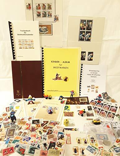 Boemaus500 Briefmarken Starter Set als Geschenk mit Briefmarkenalbum A5 - Zubehör : Pinzette, Lupe, Trockenbuch, 200 Briefmarken für Sammler