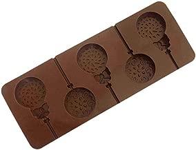 WE-WHLL 6 cavidades Bricolaje Espiral Redondo Remolino Forma Molde de piruleta de Silicona 3D Caramelo Chocolate gomoso Fondant Molde Utensilios para Hornear Bandeja para Hornear marr/ón