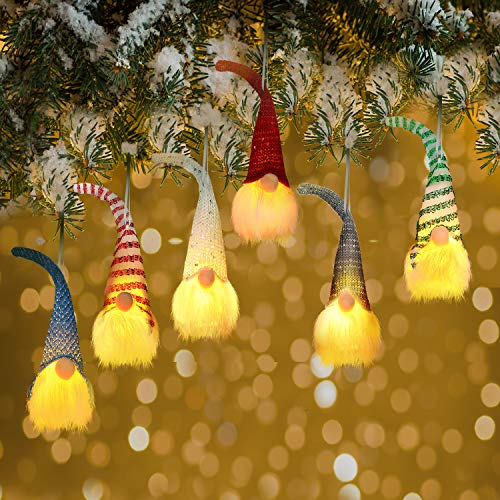 6 Pieces Handmade Christmas Cute Gnome Lights Swedish Elf Doll Hanging Lights Christmas Lovely Gnome LED Lights for Christmas Decoration