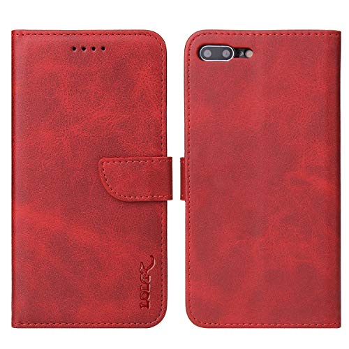 LOLFZ Funda de cartera para iPhone 6 Plus 6S Plus, Funda de cuero vintage con tarjetero Kickstand Cierre magnético Flip Case Cover para iPhone 6 Plus 6S Plus - Rojo
