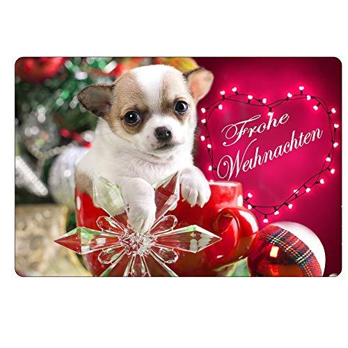 CHAQLIN - Felpudo, diseño de Navidad, 40 x 60 cm, Christmas Dog-4, Rojo