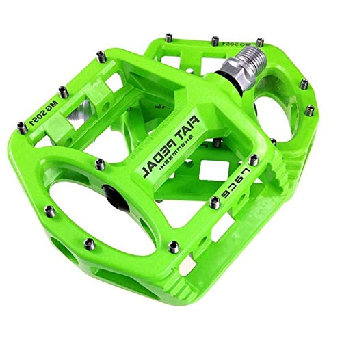 Bicycle Pedal,2Pcs Cycling Bike Pedals Flat Bicycle Pedals Racing Anti-Slip Lightweight Magnesium Alloy Mtb Road Bike Pedals Green Firm