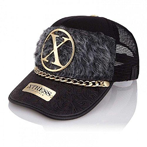 Gorra Fashion Negra con el Frontal de Pelo Gris de la Marca...