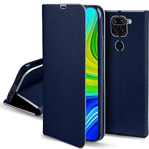 Moozy Funda con Tapa para Xiaomi Redmi Note 9, Carbono Azul Oscuro – Flip Cover con Bordes Metalizados de Protección Elegante, Soporte y Tarjetero