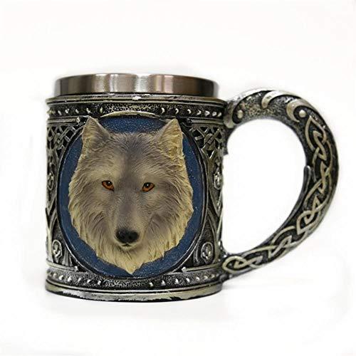 goblet Kaffeetasse,Edelstahl Harz Travel Tee Wein Bier Becher Mug,5D Wolf Pattern Wine Cup