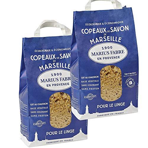 Copeaux de Savon de Marseille Marius Fabre - Lot de 2 sacs de 980G - pour un lavage doux et efficace pour tous les textiles, linge délicat
