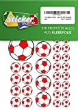 114 Pegatinas de fútbol, 15 – 50 mm, color blanco/rojo, de PVC, lámina, impresas, autoadhesivas, EM, WM, Bundesliga