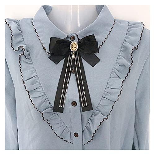 JSJJAYU Broschen & Anstecknadeln Koreaner Vintage Große Stoff Fliege Brüche Für Mädchen Frauen Mode Streifen Tuch Hemd Corsage Neck Krawatte Hochzeit Partei Zubehör (Metal Color : 26)