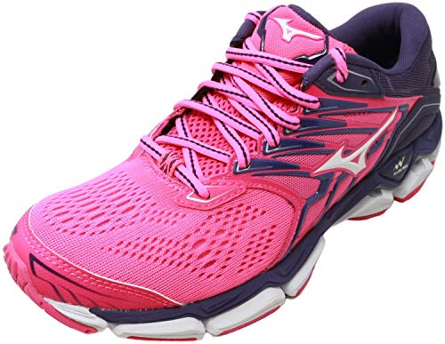 Mizuno Women's Wave Horizon 2 Running Shoe, Pink glo/White, 6 B US