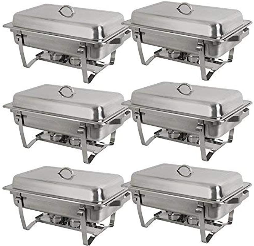 BBBuy 8 Quart Full Size Chafer Stainless Steel Chafing Dishes Complete Chafer Sets W Water Pan Food Pan Lid Pack Of 6