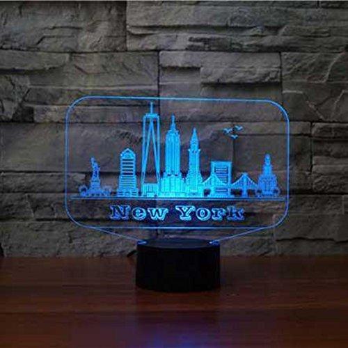 3D Lámpara Óptico Illusions Luz Nocturna, Edificio De Nueva York Led Lámpara De Mesa Luces De Noche Para Niños Decoración Tabla Lámpara 16 Colores Cambio De Botón Táctil Y Cable Usb