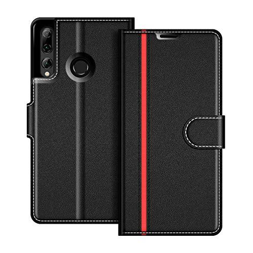 COODIO Handyhülle für Huawei P Smart Plus 2019 Handy Hülle, Honor 20 Lite Hülle Leder Handytasche für Huawei P Smart Plus 2019 / Honor 20 Lite Klapphülle Tasche, Schwarz/Rot
