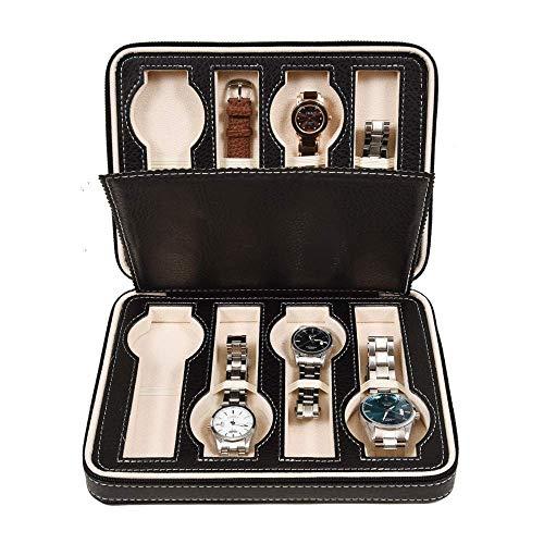THj Caja de Relojes 8 Rejillas Caja de Almacenamiento de Relojes con Cremallera Vitrina de joyería Hombres Mujeres Pantalla de Reloj Exquisito/Negro / 24x18x6cm