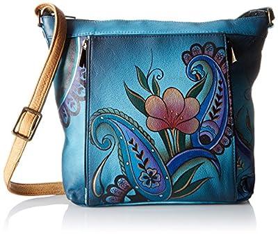 Anna by Anuschka Genuine Leather Travel Organizer | Hand-Painted Original Artwork | Denim Paisley Floral