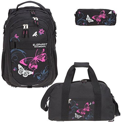 3 Teile Set ELEPHANT Schulrucksack Hero Signature + Sporttasche + Mäppchen Motiv 12679 (Butterfly Black PINK)