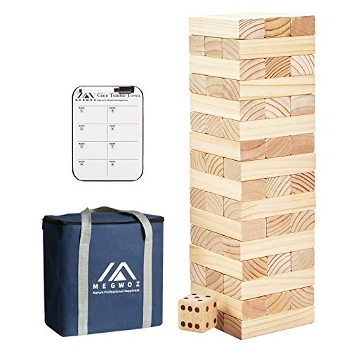 Megwoz Giant Tumble Tower, Stacking Backyard Game Stacking from 1.5Ft to Over 3.5Ft with 1 Dice|Scoreboard| Carrying Bag, Premium Pine Wooden Block Game Set for Kids Adult Family- 48 Pieces