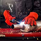 NoCry Heavy Duty Heat Resistant & Flame Retardant Welding & BBQ Gloves, Premium Cowhide Leather, Long 14 inch Forearm Protection. Red, Size Large #1