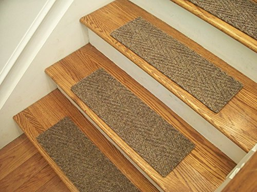 Essential Carpet Stair Treads - Style: Herringbone - Color: Beige Gray - Size: 24