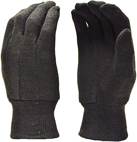 Memphis 7100P Brown Jersey Work Gloves All Cotton, Size Large (12 Pair)