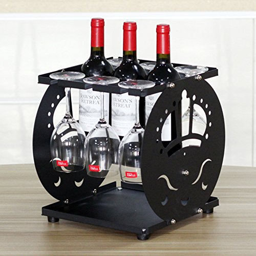 JiaQi Creativo 4 Botellas Estante del Vino,Madera Botellero Decorativo,Estante de Cristal Boca Abajo casero Moderno-E